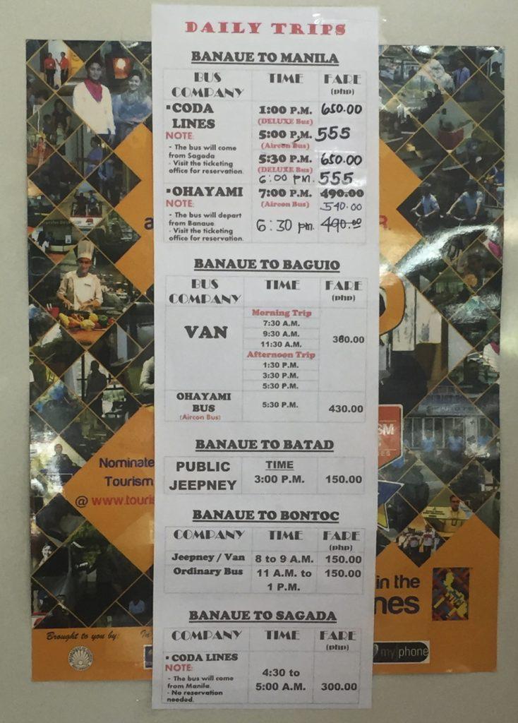 horarios traslados Banaue