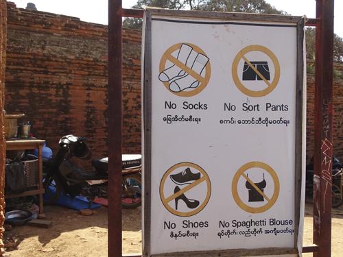 Código vestimenta en templos de Myanmar