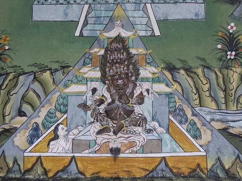 pinturas en el Dzong de Trongsa