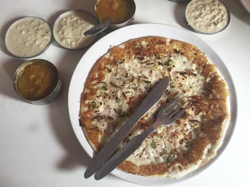 Uttapam, comida no picante en India
